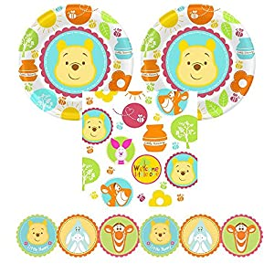 02d Winnie the Pooh 'Little Hunny' Baby Shower party supplies, 16 guests, plates, napkins, garland