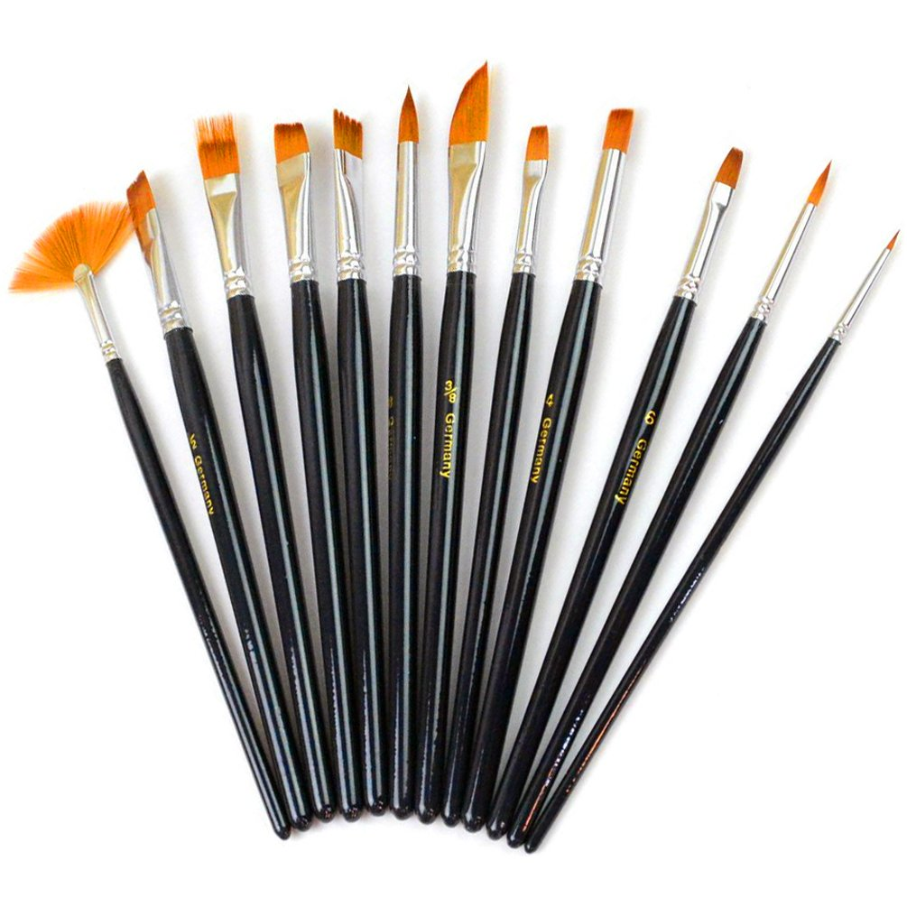 Paint Brush Set Acrylic Xpassion 12pcs Professional Paint Brushes Artist for Watercolor Oil Acrylic Painting