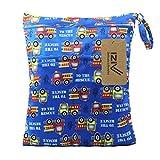 iZiv(TM) Bebé Reutilizable Impermeabilizan Mojado y Seco Bolsa de Pañales del Bebé Bolsa 2 Cremallera Impresión en Bolsa(Azul)