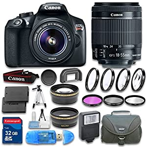 Canon EOS T6 DSLR Camera Bundle with Canon EF-S 18-55mm IS II Lens + Wideangle Lens + Telephoto Lens + 32 GB SD Card + 3 PC Filter Kit - International Version