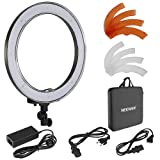Neewer Camera Photo/Video 18 inches/48 Centimeters Outer 55W 240 Pieces LED SMD Ring Light 5500K Dimmable Ring Video Light with Plastic Color Filter Set and Universal Adapter with US/EU Plug (Color: Black, Tamaño: 20.1 x 20 x 4.1 inches)
