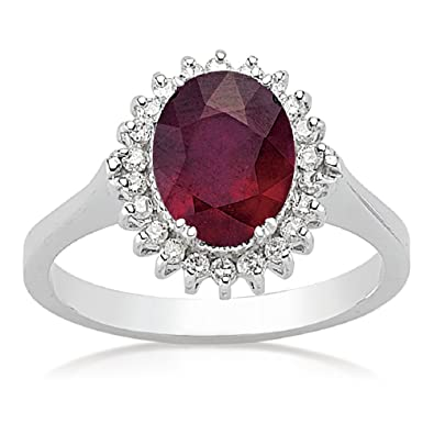 2.78 Carats 18k Solid White Gold Ruby and Diamond Engagement Wedding Bridal Promise Ring Band