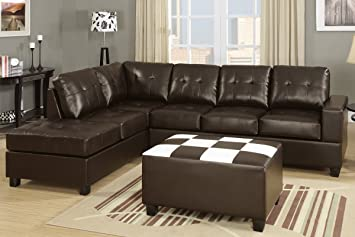 Contemporary Sectional with Console in Espresso Bonded Leather by Poundex