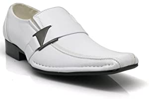 Men's Dress Loafers Elastic Slip on with Buckle Fashion Shoes Runs Half Size Big(toni) (6.5, White)