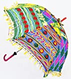 Traditional Home Decorative Embroidery Work Design Patio Hand Open Umbrella 24 x 28 Inches