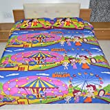 Chota Bheem In Fun-fair 100% Premium Cotton Double Bedsheet With 2 Pillow Covers