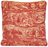 "Red Traditional Design Decorative Throw Pillow Case Hunting Pattern Cushion Cover French Toile Les Veneurs Marvic Textiles 16"" X 16"""