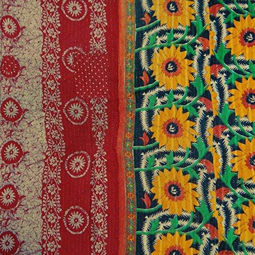 Puro Algodón Gudri vintage Kantha Stitch edredón Floral Spread Patrón Cama