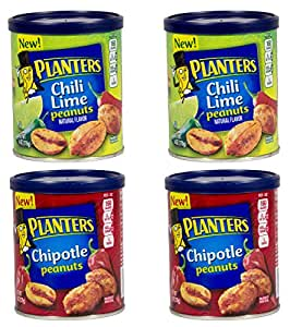 : Planters Peanuts 2 Flavor Variety 4-pack Bundle 2 Cans Chili Lime ...