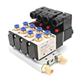 Baomain 4V210-08 DC 12V Single Head 2 Position 5 Way 4 Pneumatic Solenoid Valve w Base (Color: Black, White, Gold Tone)