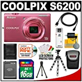 Nikon Coolpix S6200 Digital Camera (Pink) with 16GB Card + Battery + Case + HDMI Cable + Flex Tripod + Accessory Kit