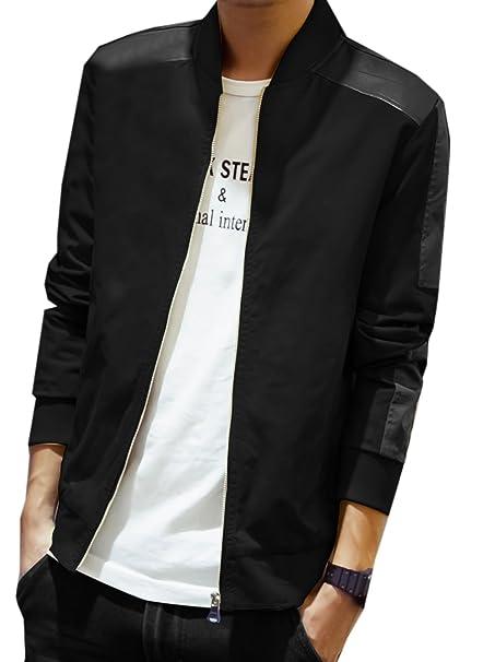 ziweiba Veste décontractée pour homme motard en simili cuir PU manteau veste slim fit stand-collar Fermeture Éclair Noir de moto