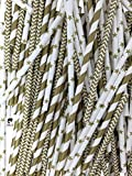 Gold Paper Straws - Chevron, Stars & Striped Designs (75 Straws)