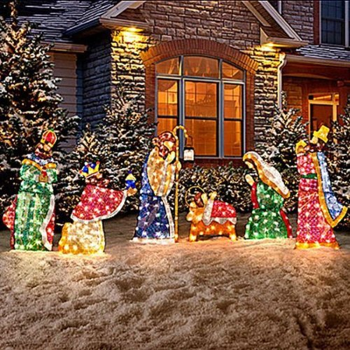 Nativity scene lighted yard displays christmas wikii for Baby jesus lawn decoration