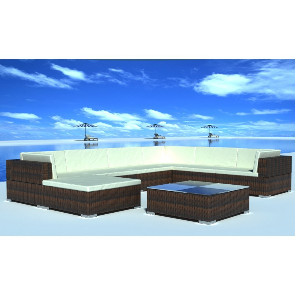 vidaXL Gartenmöbel Poly Rattan Set Lounge Braun 24-teilig