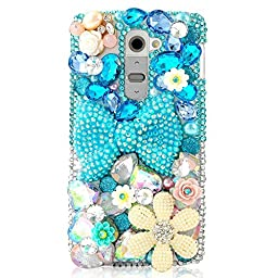 LG Leon Case, Sense-TE Luxurious Crystal 3D Handmade Sparkle Diamond Rhinestone Cover with Retro Bowknot Anti Dust Plug - Bowknot Floral / Blue