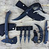 7pc Pocket Knife Throwing Knives Full Tang Dagger Tomahawk Axe Karambit Knife Survival Set | With Holt Multi Tool Key Chain