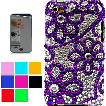 2n1 Expert Combo Rhinestone Jewel Protective Case for New Ipod Touch 4th Generation with Camera Suitable for 8G 32G 64G + Ipod Touch 4 Mirror Screen Protector, Purple Flower