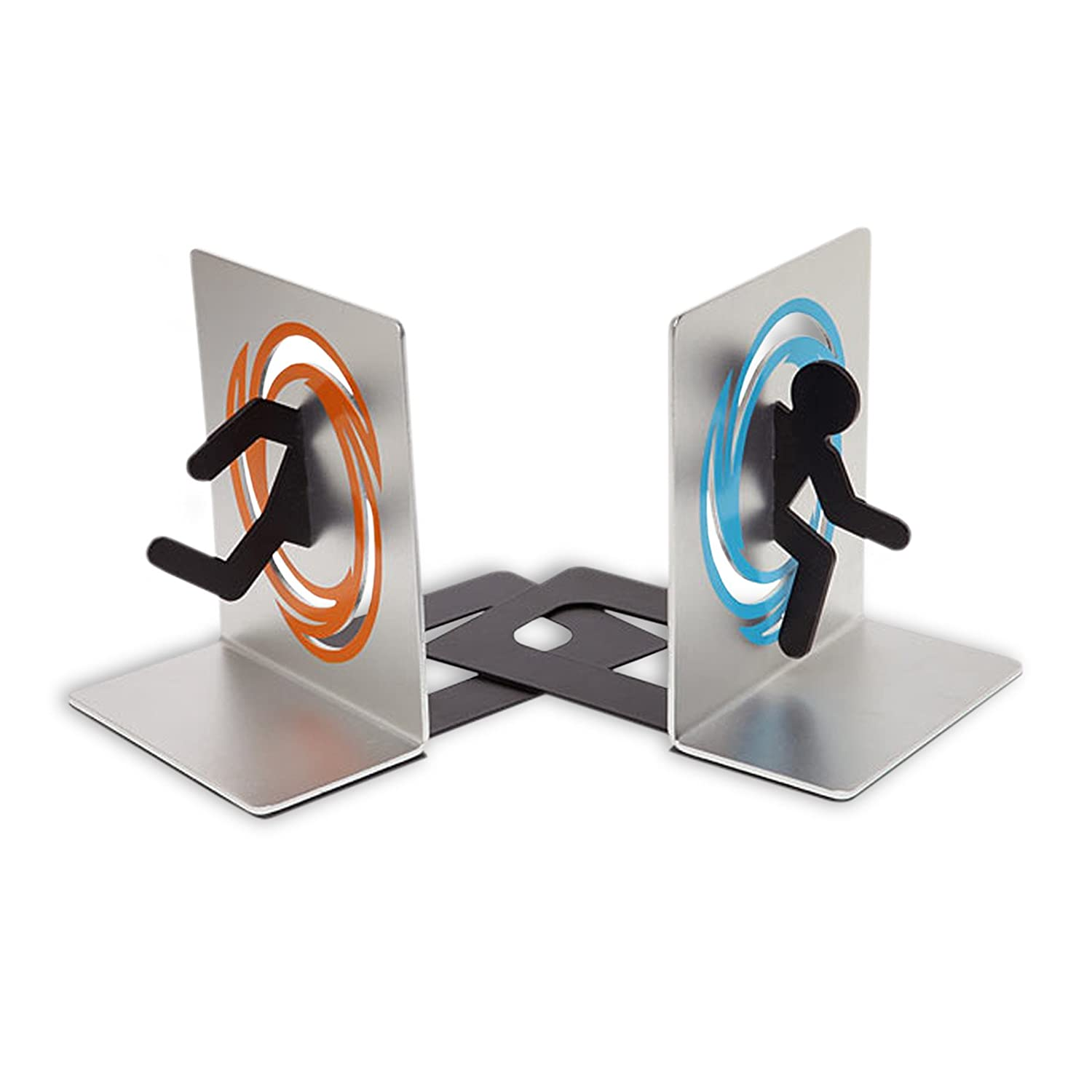 Portal 2 Metall Buchstützen Set mit Anti-Rutsch-Sohle Alu Look orange blau online bestellen