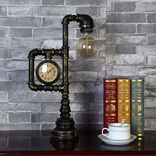 Injuicy Lighting Vintage Industrial Water Pipe Table Light Edison Desk Accent Lamp With Clock Bar 2