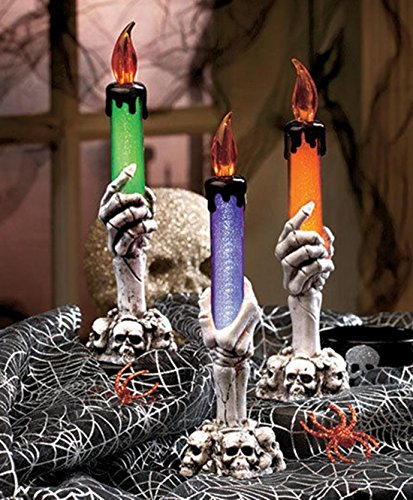 [Set of 3 Unequaled Popular Halloween Candles Spooky Props Skeleton Hands Creepy Haunted Multi-Color Style Skull] (Creepy Mlp Costume)