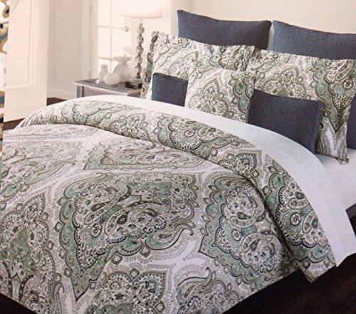 Tahari Sheets Sale: Tahari Home Green Aqua Gold Beige Paisley King Duvet Cover