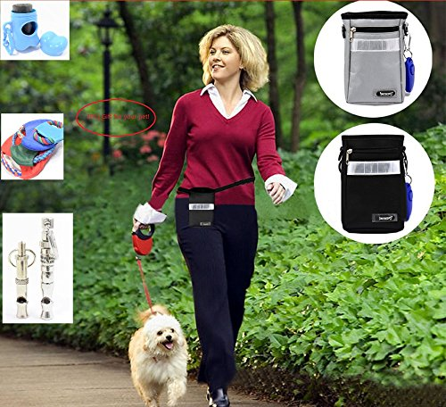 L&LH Dog Treat Carrier Pouch,Rapid Rewards Deluxe Dog Treat Training Bag for Training, Carries Treats and Toys,(Package include 1pc ultrasonic whistle,1pc Frisbee and 1pc Pet poop bags) (Black) (Hunting Dog Bone Whistle compare prices)