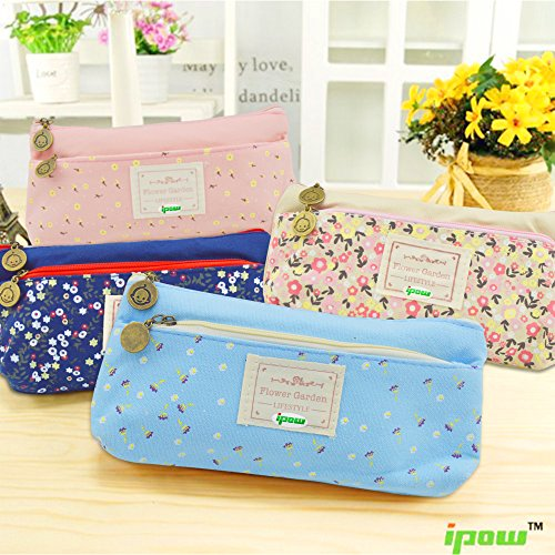 Ipow Pastorable Flower Floral Canvas Double Zipper Large Cosmetic Pen Pencil Stationery Pouch Bag Case, Set of 4
