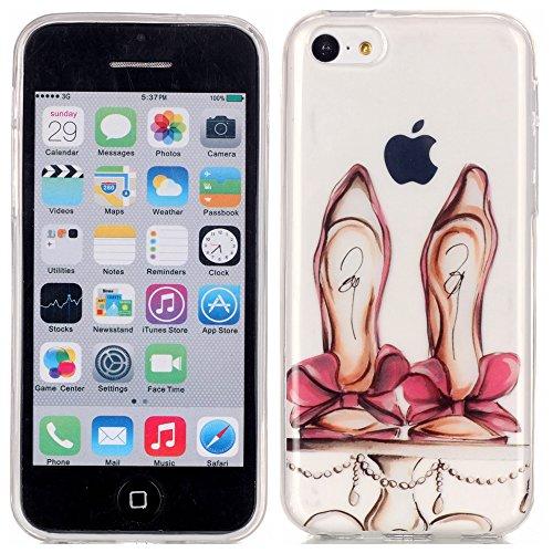 Ecoway copertura / coperture / insiemi di telefono / shell protettivi apparecchi telefonici mobili chiari e trasparenti Custodia TPU silicone Crystal per Apple iPhone 5C, case cover protettivo disegno speciale - Red tacchi alti