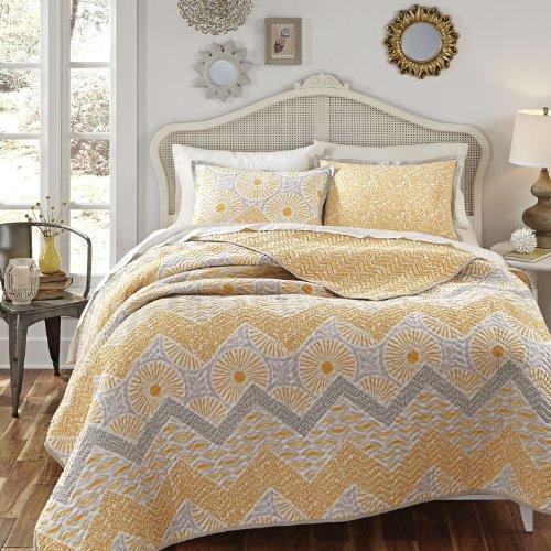 kd spain sunnyside yellow gold gray quilt sham set guest room bedding. Black Bedroom Furniture Sets. Home Design Ideas