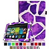 Fintie Amazon All New Kindle Fire HD 7 inch Slim Fit Folio Case with Auto Sleep / Wake Feature (will only fit All New Kindle Fire HD 7 2013 Model) - Giraffe Purple