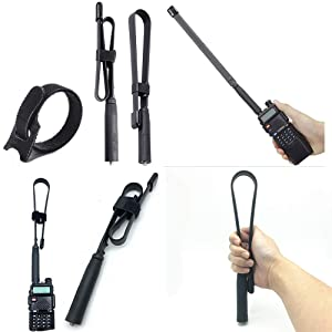 Dual Band SMA-Female Tactical Antenna 144/430MHz 18.5 inch Fit for Baofeng UV-5R UV-82 Two Way Radio(not Included)