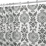 InterDesign Damask Shower Curtain, 72 x 72, Charcoal