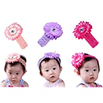 Bundle Monster 24-Piece Daisy Flower Clip Crocheted Baby Headbands / Hair Clips Mixed Color Lot for Girls - Fits 0 to 5yrs Toddler