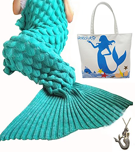 URSKY Crochet Knitted Cozy Mermaid Tail Blanket, 76.8 x 35.5 -Inch, Scale Green (Sewing Machines For Young Girls compare prices)