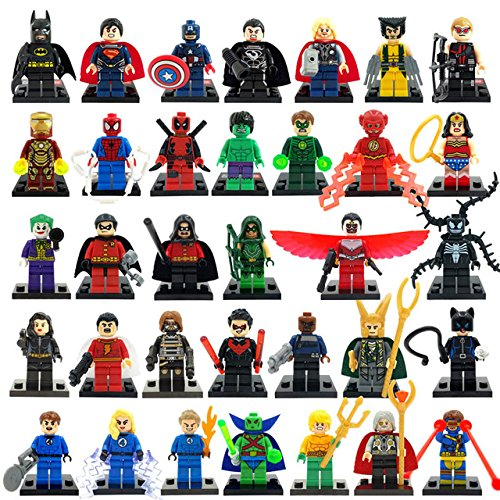 34pcs/lot Marvel DC Super Heroes Minifigures Avengers Iron Man Batman Building Blocks Sets Model Bricks Toys