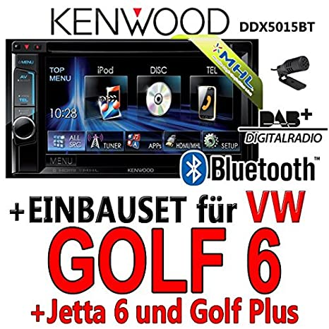 Kenwood-vW golf 6 dDX5015BT 2-dIN multimédia uSB mHL kit de montage d'autoradio dAB