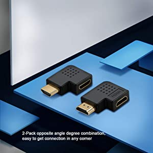 HDMI Male to Female Adapter, CableCreation 2 Pack 90 and 270 Degree Right Angle HDMI to HDMI Converter, 4K 3D HDMI Extender for Roku, PS3, PS4, Fire S