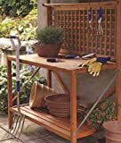 Merry Products Foldable Wooden Potting Bench With Storage - Fir Wood