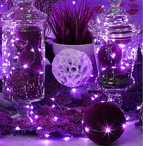 LED SopoTek 7ft 20 LEDS Purple Starry Lights Fairy Lights Silver LED Lights Strings AA Battery Powered Ultra Thin String Wire(20 Leds Purple Battery not included)