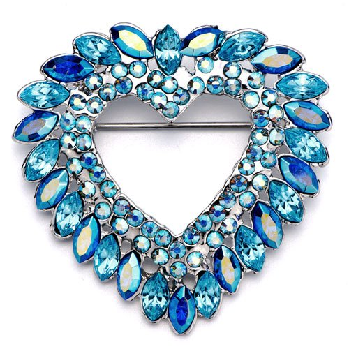 Christmas Gifts Pugster March Birthstone Aquamarine Crystal Drop Heart Wreath Brooches And Pins