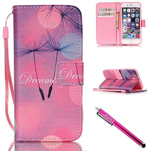 iPhone 5S Case, iPhone 5 Wallet Case, Firefish [Kickstand] PU Leather Flip Purse Case Slim Bumper Cover with Lanyard Magnetic Skin for Apple iPhone 5/5S/SE + including One Stylus-B-Dandelion (Lilo And Stitch Full Series compare prices)