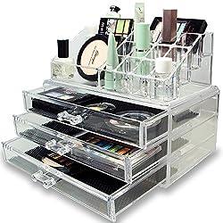 EVANA Acrylic Jewelry & Cosmetic Storage Display Boxes Two Pieces Set.