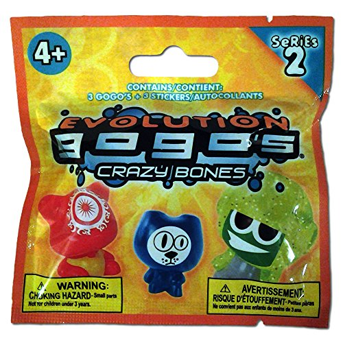 Crazy Bones Foil Pack - Yellow Gogo's Power Figures Cards Included - Series 2 - 2 Assorted Packs of 3 - Children Kids Game