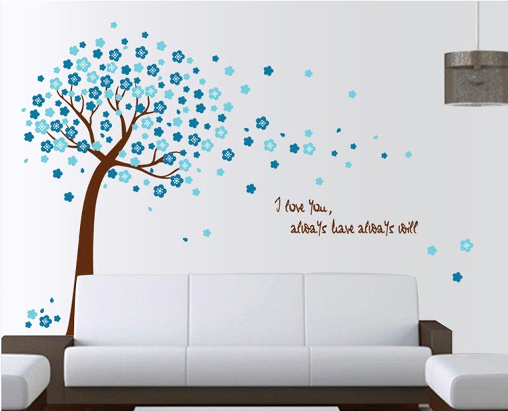 Ufengke romantico albero fiore blu adesivi murali camera - Parete camera da letto blu ...