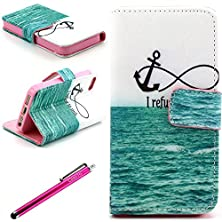 buy Iphone 6 Case, Jcmax Colorful Design Premium Flip Wallet Pu Leather [Anti-Slip] Stand Case With Card Holder And Magnetic Closure For Apple Iphone 6 (4.7 Inch) + One Stylus-Green Sea
