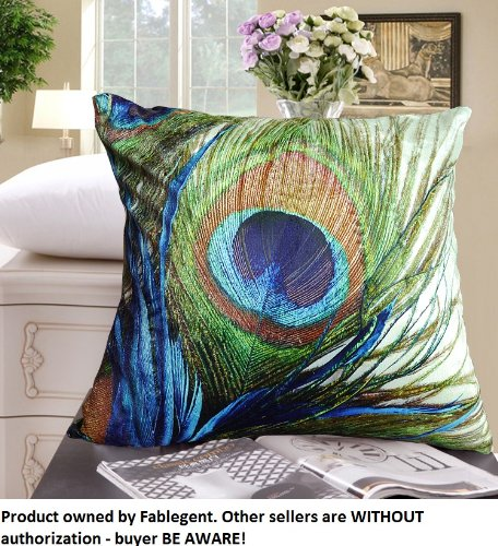Best Review Of FablegentXH1 - Elegant Decorative Throw Pillow Cover - Peacock Feathers Design on Bot...