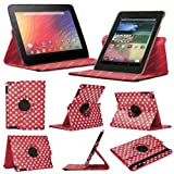 Stuff4 MR-NX7-L360-PD-RW-STY-SP Polka Dot Designed Leather Smart Case with 360 Degree Rotating Swivel Action and Free Screen Protector/Stylus Touch Pen for 7 inch Google Nexus 7 - Red/White