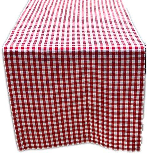 ZEITLOSe-Tischdecke-TISCHLUFER-50x170-cm-eckig-Polyester-Tischband-rot-wei-KARIERT-Baumwolloptik-Garten-Balkon-Kche-Esszimmer-rustikales-Landhaus-Tischlufer-50x170-cm-rechteckig