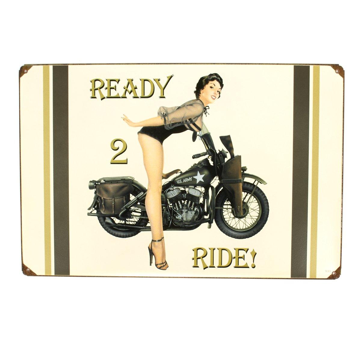 U.S. WW2 Vintage Metal Sign: 1943 Harley-Davidson Pinup 0
